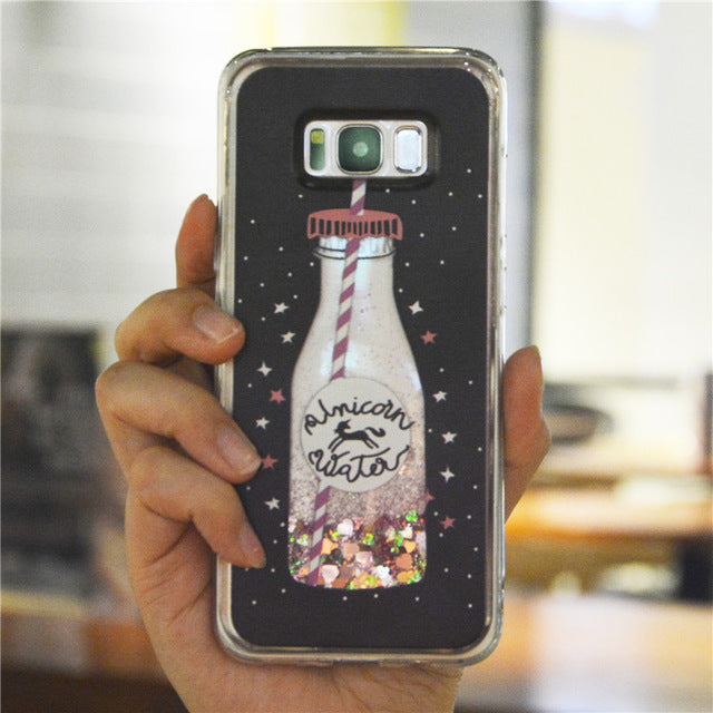 Drink Bottle with Dynamic liquid and bling star Quicksand Case