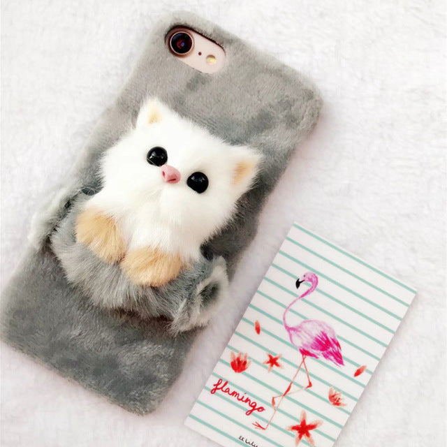 Cute Cartoon 3D Cat Fur Case
