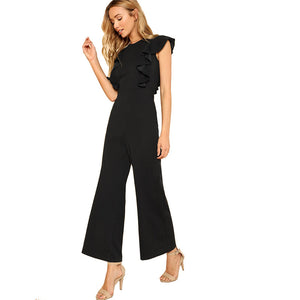 Black Ruffle Jumpsuit