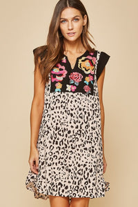 Embroidered Leopard Print Dress
