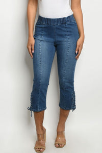 Lace Up Denim Capris
