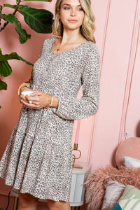 Tiered Leopard Print Dress