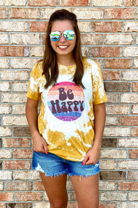 Be Happy Bleached Tee