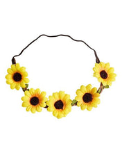 Load image into Gallery viewer, Sunflower Braided Leather Floral Headband