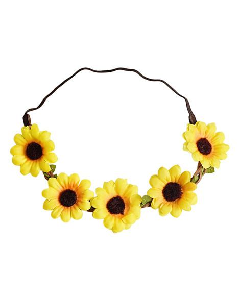 Sunflower Braided Leather Floral Headband