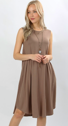 Mocha Sleeveless Knee-Length Dress