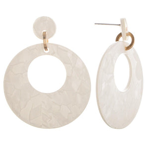 White acetate earrings