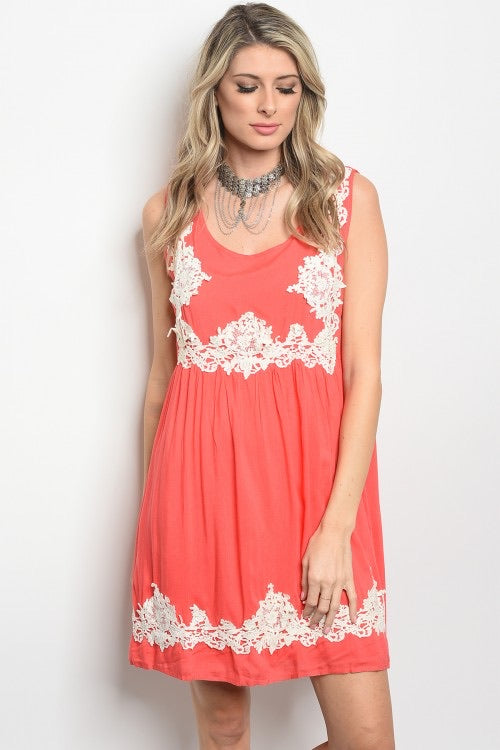 Coral and Crochet Dress