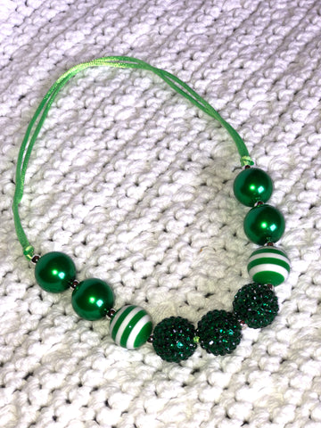 Adjustable Green and White Girl's Necklace