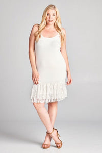 Cream ruffled lace hem dress extender