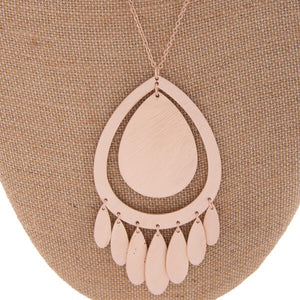 Rose gold tear drop pendant necklace