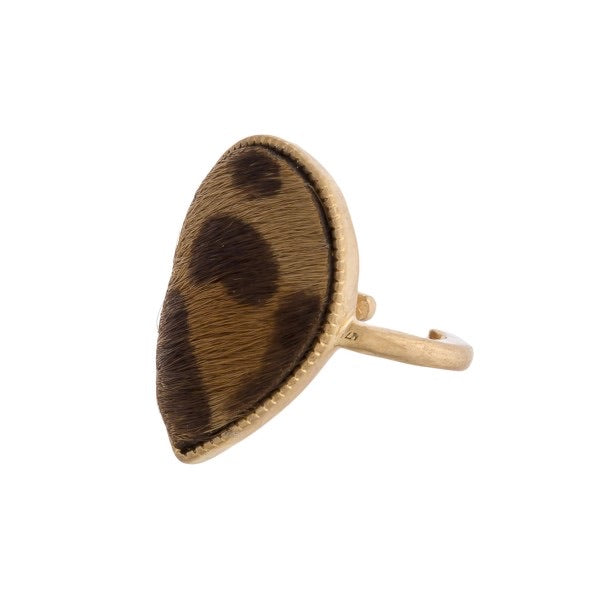 Brown Leopard Print Teardrop Ring