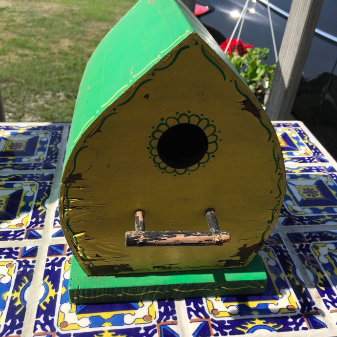 Handmade Wood Birdhouse Signed And Dated