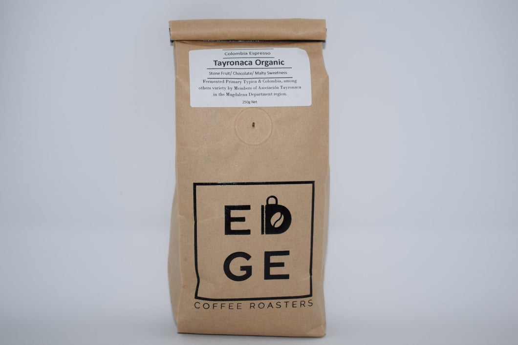 Fermented Tayronaca Organic coffee from Colombia which has Flavour Notes of Stone fruit, chocolate, malty sweetness packaged in a biodegradable bag. Available wholebean or ground.