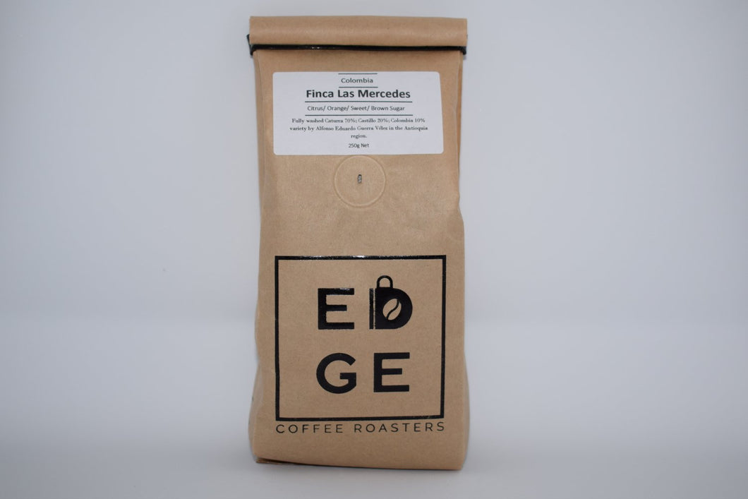 Fully washed Finca Las Mercedes coffee from Colombia which has Flavour Notes of Citrus, orange, sweet, brown sugar packaged in a biodegradable bag. Available wholebean or ground.
