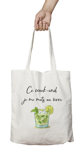 Tote bag marrant et original Week-end rhum verre vert mojito So Custom