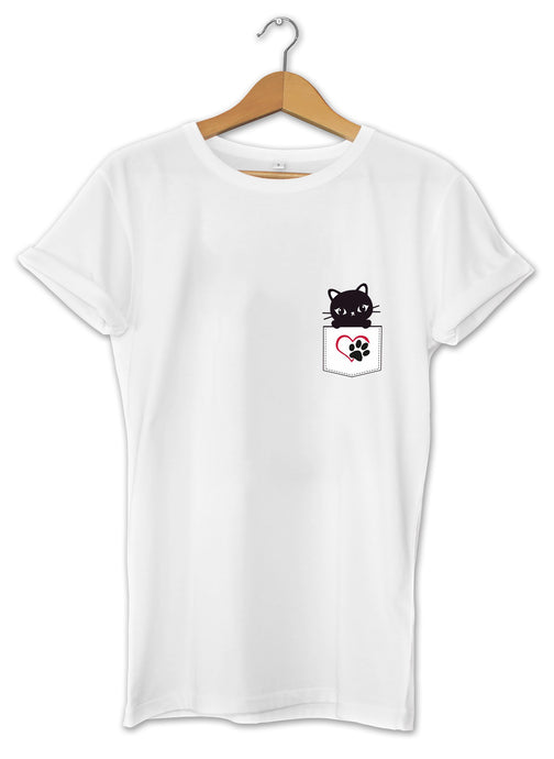T-shirt cool et original chat poche pocket cat félin tee shirt So Custom