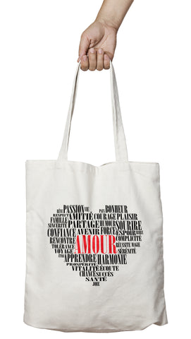 Tote bag original amour coeur mots So Custom