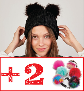 Kit Bonnet Femme Noir à double Pompon interchangeable