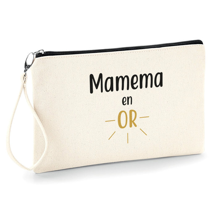 Mamie en or , Mamy ,Mamema ,Grand-mère ,Pochette femme trousse,  So Custom