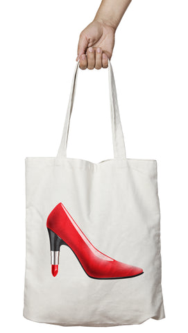 Tote bag original femme rouge à lèvres talons So Custom