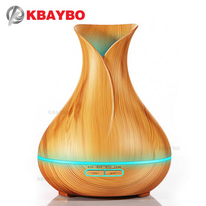 400ml Essential Oil Diffuser with Wood Grain 7 Color Changing LED Lights