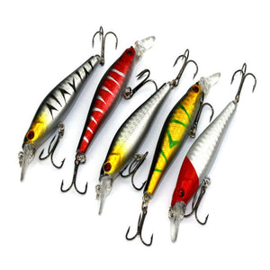 5pcs Bass Lures Diving Crankbait Minnow