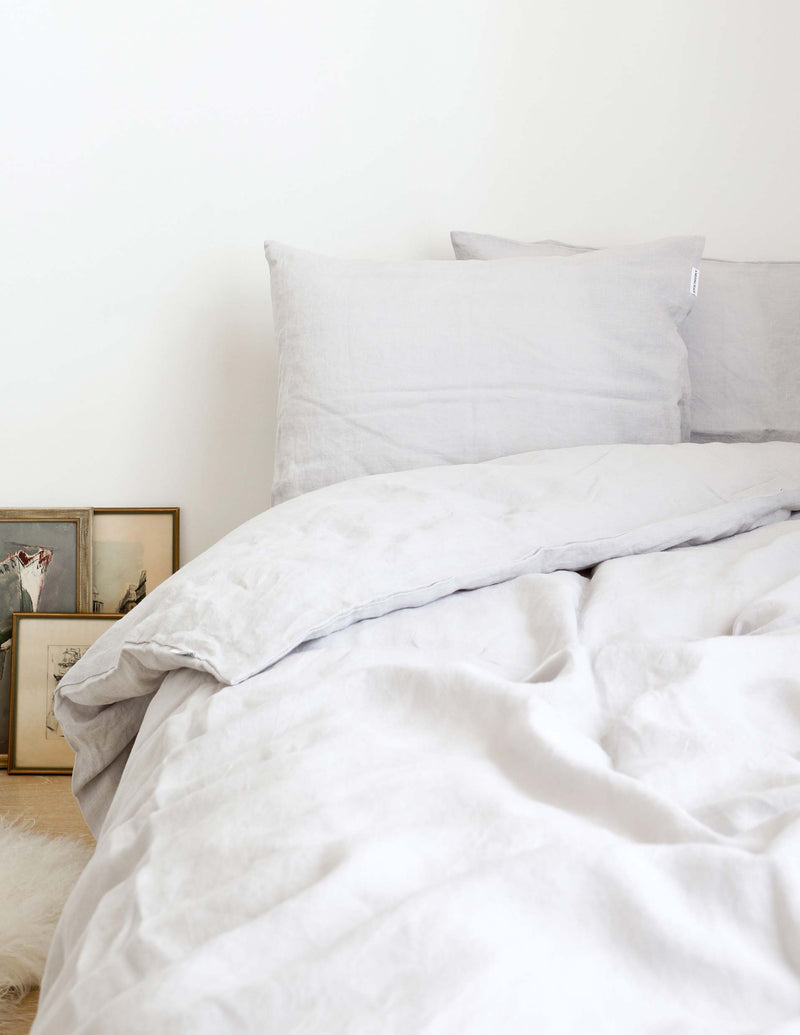 Linen Duvet Cover - Light Grey