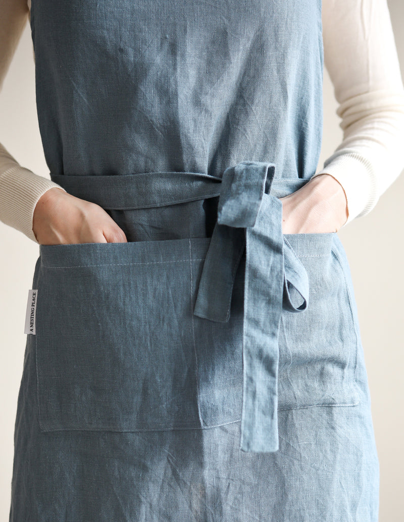 Linen Apron-Grey blue