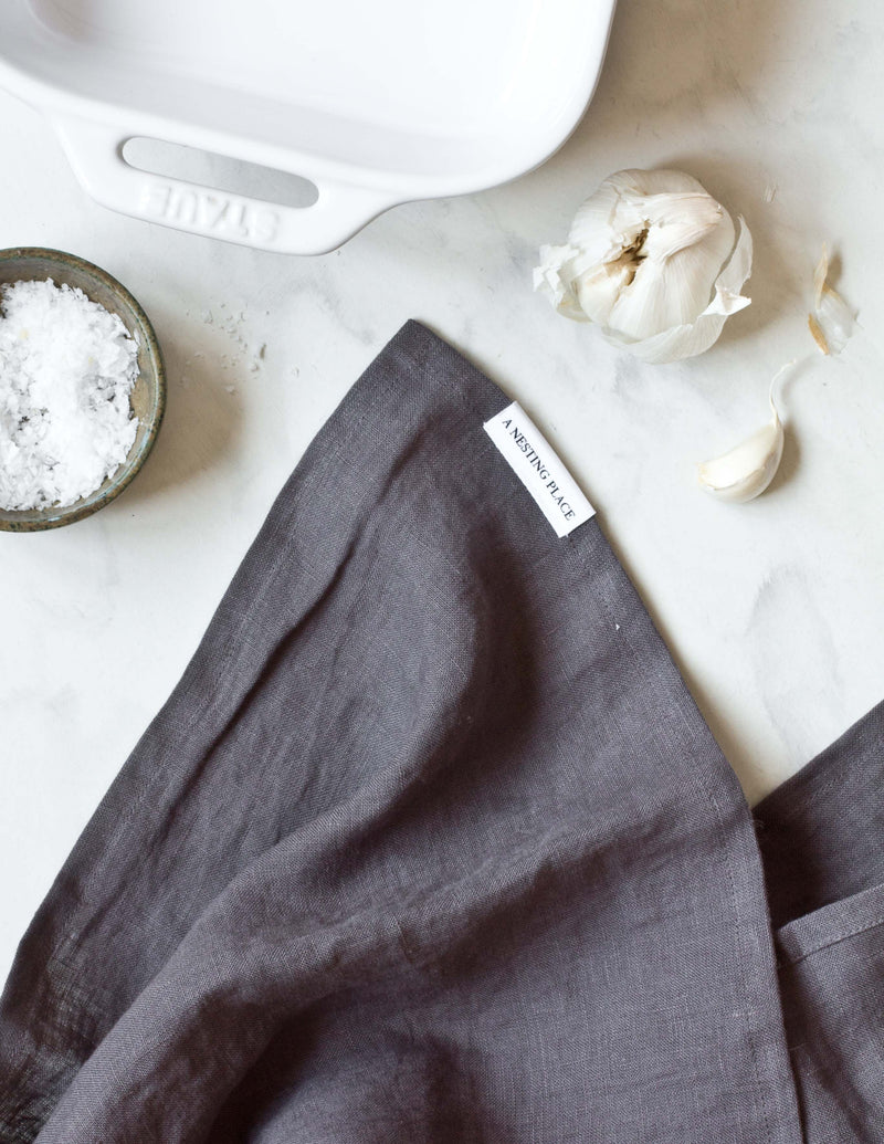 Linen Kitchen Towel - Charcoal Gray