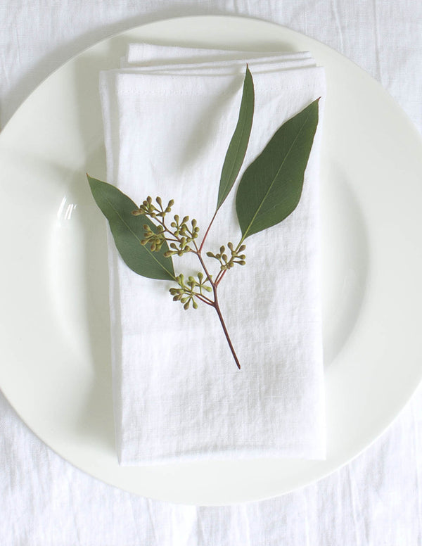 Linen Napkin Sets - White