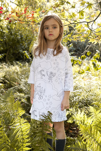 UNICORN AND PRINCESS COLOUR-IN 3/4 HANDMADE SLEEVE COTTON DRESS WITH TEXTILE MARKERS