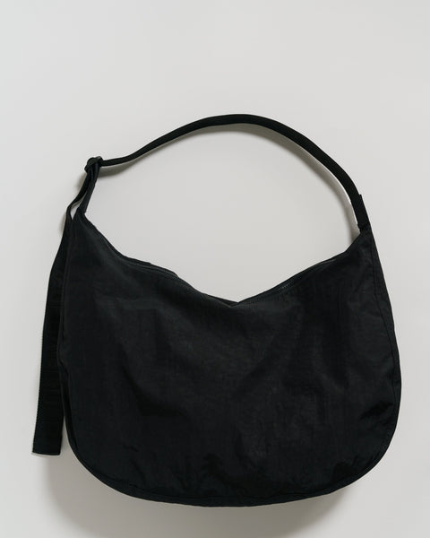 Large Black Recycled Nylon Crescent Cross Bag