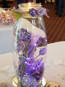Large Lavender Candle with remote-controlled lavender lights