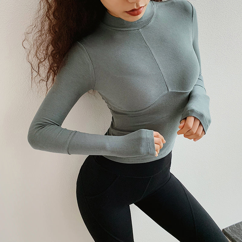 Women High Collar Long Sleeve Tight