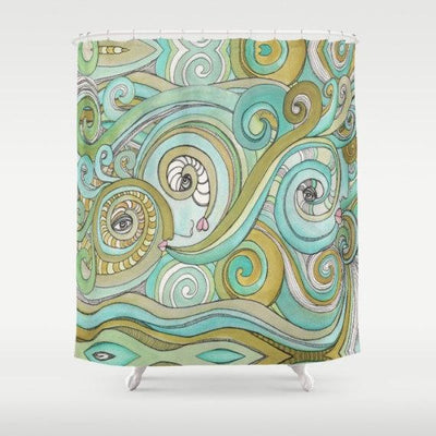 Honeydew Oceans shower curtain