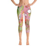Abstract Capri leggings, Workout Pants 'Pink Feathers, Flowers, Showers'