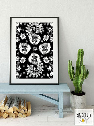 Art Print Download Black and White Birds of a FLower