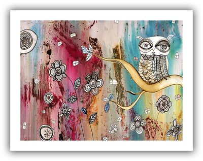 surreal owl white border