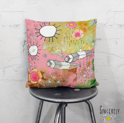 Colorful Floral Throw Pillow