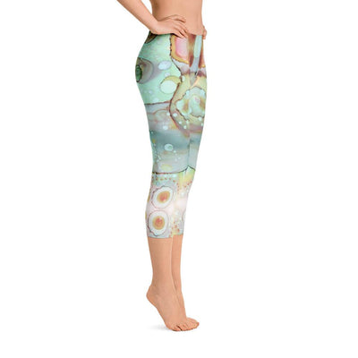Abstract Capri leggings, Workout Pants 'Mermaid Tail 01'