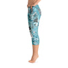 Abstract Capri leggings, Workout Pants 'Blue Sky'
