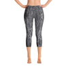 Abstract Capri leggings, Workout Pants 'Wood Grain'
