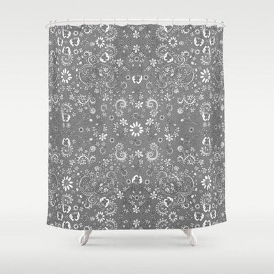 Grey Birds of a Flower shower curtain