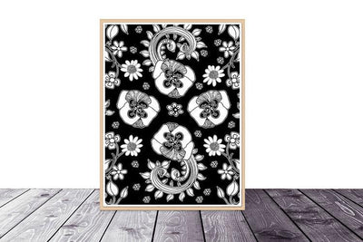 Art Printable Download 'BW Birds of a Flower 04'