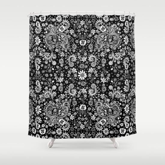 Black And White Floral Shower Curtain By Ccambrea Sincerely Joy