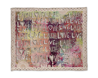 laugh love live abstract colorful blanket
