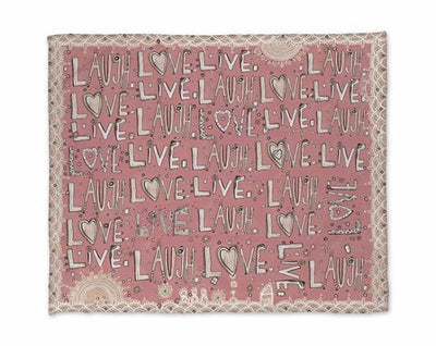 laugh love live pink fleece blanket