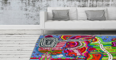psychedelic colorful area rug