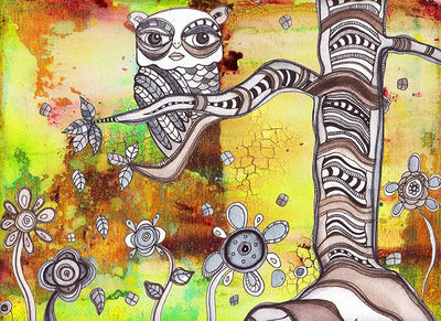 surreal mixed media Owl Art